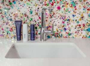 sink with skincare products
